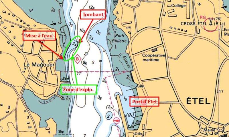 Carte SHOM - Plan spot plongée du bord - Plouhinec - Le Magouer