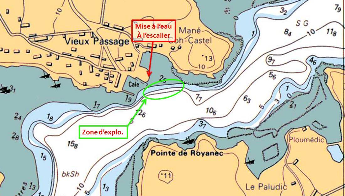 Carte SHOM - Plan spot plongée du bord - Plouhinec - Le vieux passage