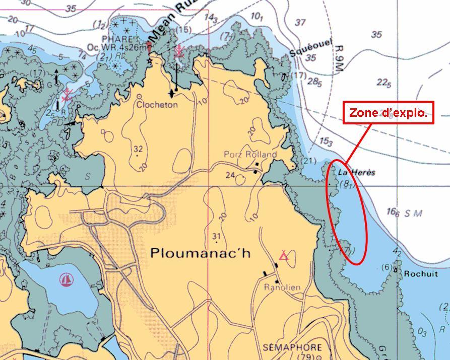 Carte SHOM - Spot plongée du bord Ploumanach / Ranolien